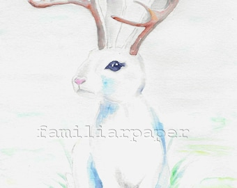 Jackalope: Print of Original Watercolor Painting