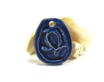 Ceramic Pendant, Stoneware Pendant - Blue Turtle Pendant (OOAK Focal Pendant, Ceramic Gift Tag, Ceramic Necklace)