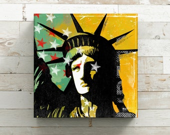 Statue of Liberty, Canvas Art, Farmhouse Decor, Pop art, Americana, Man Cave art, Industrial decor, wall Decor, Canvas Print, 12x12 art