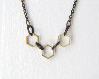 Hexagon Necklace - Geometric Necklace - Geometric Jewelry - Honeycomb Necklace - Honeycomb Necklace - Minimalist Jewelry