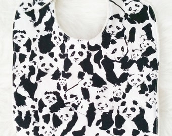 Panda Baby Bib, black and white baby bib, toddler bib