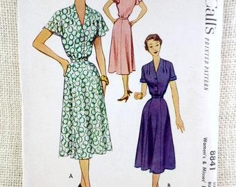 Vintage Pattern McCall's 8841 1950s flutter sleeve shirtwaist dress Bust 34 V neck gored skirt pleated neckline