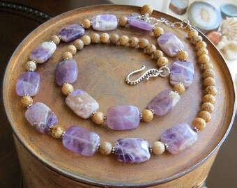 amethyst necklace . SENSES . picture jasper necklace . organic stone necklace . perfect girlfriend gift . purple necklace . brown necklace