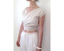 Linen double wrap top in Pale Beige, Black, or Tan. Reversible tie wrap top in linen