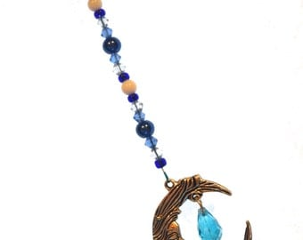 Ornament Moon & Crystal Ornament Blue Hanging Beaded Crystal Feng Shui Sparkles Crescent Moon