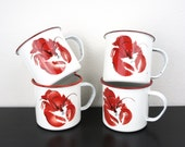 Vintage Set of Four Enameled Lobster Mugs, Red and White Enamelware, Drinkware. Barware, Coastal Cape Cod, Clam Bake Glasses,  Decor 240027