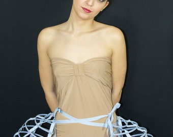 Two pieces worn together double pannier blue ribbon and lacing Crinoline long cage hoop bustle