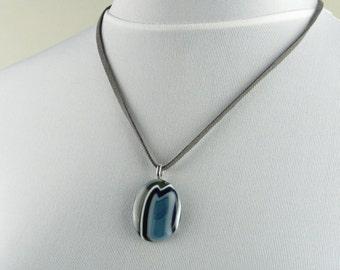 Blue Pebble Pendant, fused glass pendant, blue pebble necklace