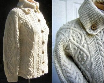 "Hand Knit Aran Fisherman Sweater CARDIGAN - Vintage 60s Warm Wool Hand Made Buttons 41"" Bust"