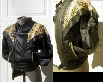 Vintage Leather & Snake Skin Biker Jacket - Mens Small - Hnos Solorzano Mexico - 70's Black with Reptile Swag