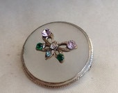 Vintage Art Deco Frosted Glass Crystal Butterfly Brooch
