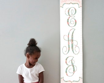 Personalized/ Custom Girls Floral Monogram canvas growth chart
