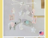 Baby Mobile, Baby Crib Mobile, Elephant and Giraffe Mobile, Baby Girl Mobile, Starry Night, Pink and Gray, Custom Mobile