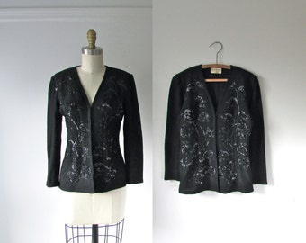 1960s sweater / vintage sequins cardigan sweater