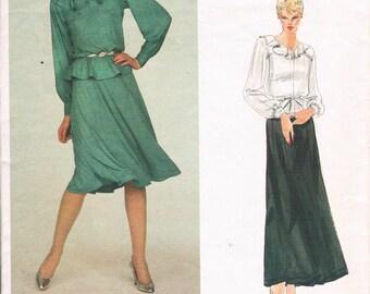 Vintage 1980's Vogue Jean Muir Pattern - Misses' Top & Skirt  No. 2787