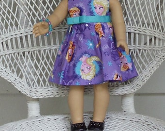 Purple Princess Elsa and Anna Dress- Handmade to Fit 18 Inch Dolls Like American Girl and Madame Alexander