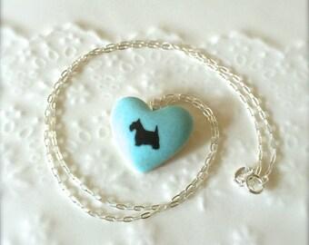 Gift for Dog Lover-Scottish Terrier Necklace, Scottish Terrier Sterling Silver Porcelain Pendant, Gift for her