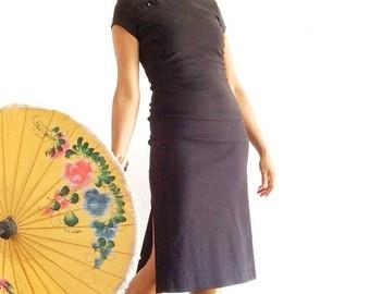 Vintage cheongsam dress, Black midi dress, Black cocktail dress, Black asian dress, Mandarin Collar Dress, Pinup dress, Oriental dress