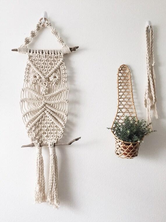 modern macrame owl fiber wall hanging