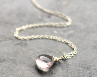 Rose Quartz Necklace, Pendant Style Drop, Glowing Pink Stone, Sterling Silver