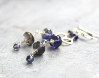 Iolite Earrings Long Dangle Earrings Sterling Silver Indigo Blue Faceted Beaded Gems