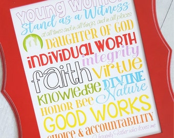 YW Values Subway Art, LDS Young Women Print, Personal Progress Gift, YW Printable