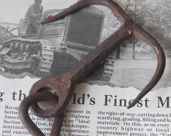 Vintage Cast Iron Meat Hook Vintage Cast Iron Grappling Hook Vintage Cast Iron Two Prong Hanging Hook Vintage Industrial Hook