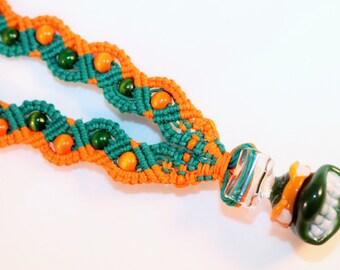 TMNT inspired hemp necklace with handblown Michelangelo pendant, micromacrame, macrame, hippie, music festivals, turtles, handmade