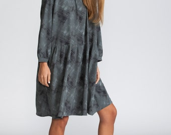 Knee length dress, long sleeves, winter denim print dress, winter day Dress, scoop neck, gray short dress, loose fit dress, casual style