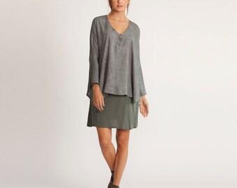 Women oversized bat shirt, gray tunic, gray kimono top, one size fits all, Oversized kimono tunic, one size,