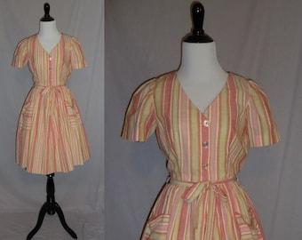 50s Sherbet Striped Dress - Orange Yellow Pink Red Teal - Full Skirt - Cotton Day Dress - Vintage 1950s - S M