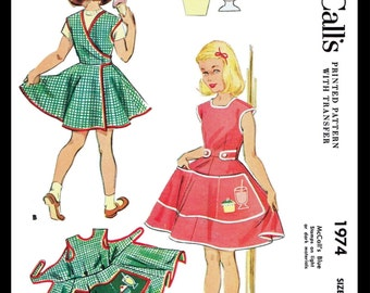 Cupcake Soda WRAP APRON Dress Fabric Sewing Pattern McCall's #1974 1950's Kids Child Girls Self Help Teaching Reproduction / Copy Size 6