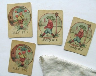 Vintage Old Maid Card Game Playing Cards Billy Pig Bowery Bill Art Signed Phil Original Pair Pieces Game Deck of Cards Apple Tree Lamp Post