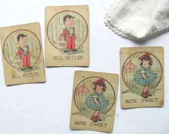 Vintage Old Maid Card Bill Butler Susie Sweet Game Playing Cards Phil Art Matching Pair Toy Game Pieces Deck of Cards Welcome Mat Blue Dress