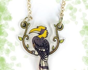 Great Hornbill acrylic charm necklace