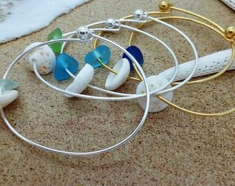 Shell Bangle, Sea Glass Bangle, Puka Shell Bangle, Hawaiian Jewelry Sea Glass Jewelry Sea Glass Bracelet Sea Glass Bangle Hawaii Jewelry 032