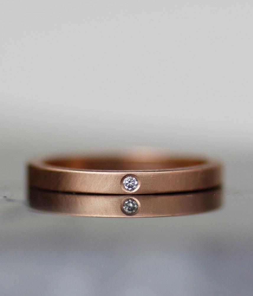 Skinny Diamond Engagement Ring Modern Wedding Band Womens