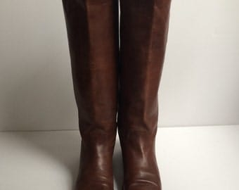 Vintage 80's Nine West Leather Boots ~ Chestnut Brown Riding Boots ~ Size 8.5N