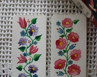 Hungarian Floral Bookmarks - Set of Two - Original Handpainted Watercolor