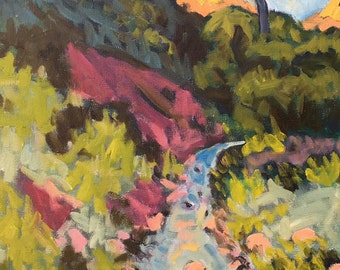 Zion's Virgin River - Original Oil Painting, Zion, Zion Park, Red Cliffs, Virgin River, Lone Tree, Utah, Springdale, Desert, Southwestern
