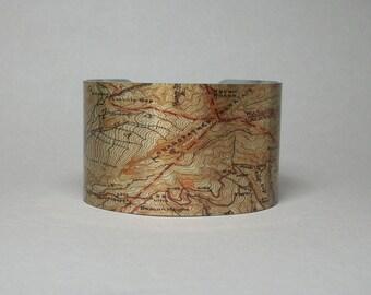 Grandfather Mountain North Carolina Trail Map Cuff Bracelet Unique Hiking Gift for Men or Women