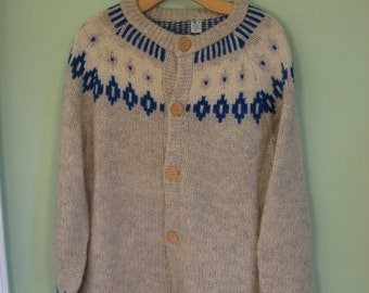 Pure Wool Nordic Style Cardigan Sweater Wooden Buttons Made in Greece THE BEST!!