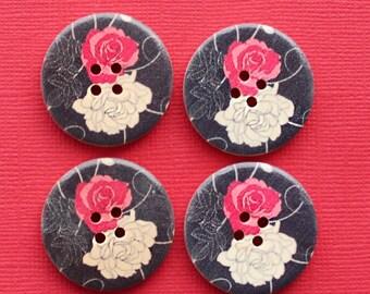 6 Large Wood Buttons Striking Modern Floral Design 30mm - BUT011