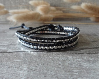 Silver Nuggets Wrap Bracelet, Leather Wrap Bracelet, Nuggets Beaded Bracelet, Silver Nuggets Bracelet 10878