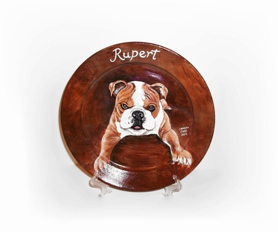 Pet Portraits Hand Painted Your Dog Cat or Horse Pet Lover Personalized Portrait on a 10 3/4 inch Coupe Style Plate Custom Made Pet Painting