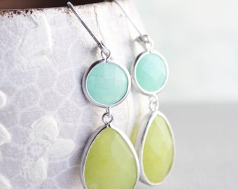 Lime Green and Mint Earrings Long Dangle Earrings Chartreuse Teardrop Aqua Jewel Earrings Nickel Free Bright Colorful Jewelry Modern Summer