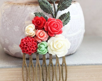 Colorful Flower Hair Piece Bridal Hair Comb Bright Coral Floral Comb Leaf Green Bridesmaid Gift Red Rose Comb Spring Garden Verdigris Branch