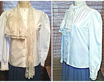 Vintage 80s RALPH LAUREN Blouse, Ivory Lace Scarf Collar & Cuff, Blue Label, Cotton Long Sleeve, Womens vtg 6 / M, 1980's-90s