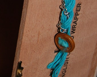 Blue Thread and Chain Bracelet