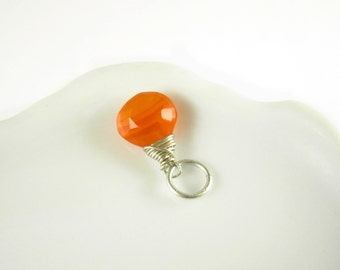 Sterling Silver Charms - Neon Orange Carnelian Gemstone - Wire Wrapped Jewelry Handmade - Orange Gemstone Pendant - JustDangles